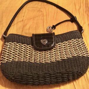 BRIGHTON Black and Tan Straw Handbag Purse
